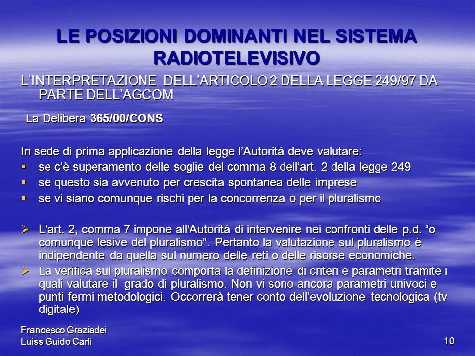 Francesco Graziadei Luiss Guido Carli10 LE POSIZIONI DOMINANTI NEL SISTEMA RADIOTELEVISIVO L'INTERPRETAZIONE DELL'ARTICOLO 2 DELLA LEGGE 249/97 DA PARTE DELL'AGCOM La Delibera 365/00/CONS La Delibera 365/00/CONS In sede di prima applicazione della legge l'Autorità deve valutare:  se c'è superamento delle soglie del comma 8 dell'art.