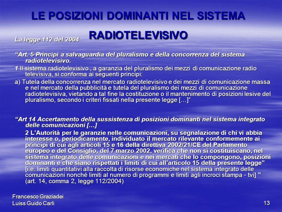 Francesco Graziadei Luiss Guido Carli13 LE POSIZIONI DOMINANTI NEL SISTEMA RADIOTELEVISIVO La legge 112 del 2004 Art.
