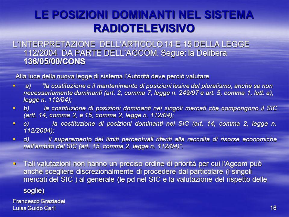 Francesco Graziadei Luiss Guido Carli16 LE POSIZIONI DOMINANTI NEL SISTEMA RADIOTELEVISIVO L'INTERPRETAZIONE DELL'ARTICOLO 14 E 15 DELLA LEGGE 112/2004 DA PARTE DELL'AGCOM.