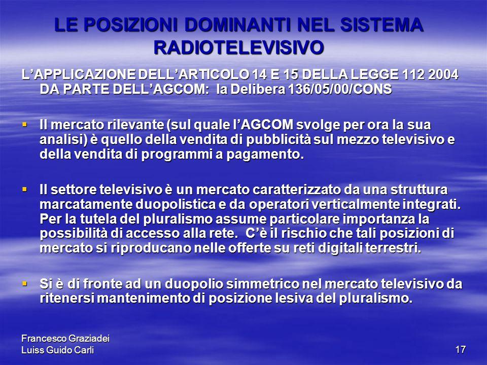 Francesco Graziadei Luiss Guido Carli17 LE POSIZIONI DOMINANTI NEL SISTEMA RADIOTELEVISIVO L'APPLICAZIONE DELL'ARTICOLO 14 E 15 DELLA LEGGE 112 2004 DA PARTE DELL'AGCOM: la Delibera 136/05/00/CONS  Il mercato rilevante (sul quale l'AGCOM svolge per ora la sua analisi) è quello della vendita di pubblicità sul mezzo televisivo e della vendita di programmi a pagamento.