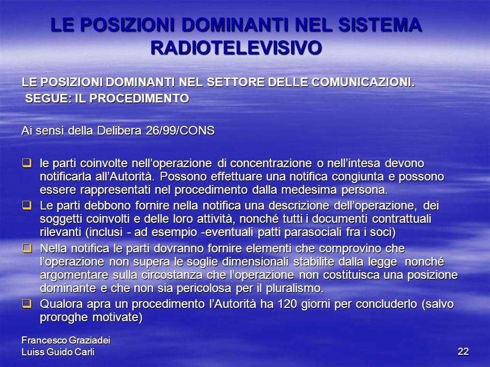 Francesco Graziadei Luiss Guido Carli22 LE POSIZIONI DOMINANTI NEL SISTEMA RADIOTELEVISIVO LE POSIZIONI DOMINANTI NEL SETTORE DELLE COMUNICAZIONI.
