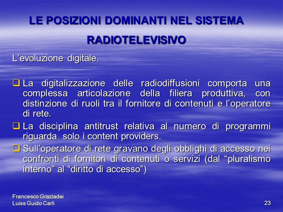 Francesco Graziadei Luiss Guido Carli23 LE POSIZIONI DOMINANTI NEL SISTEMA RADIOTELEVISIVO L'evoluzione digitale.