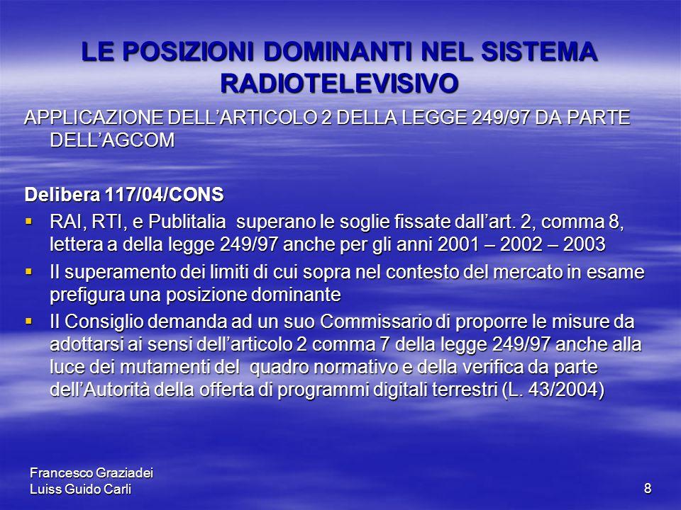 Francesco Graziadei Luiss Guido Carli8 LE POSIZIONI DOMINANTI NEL SISTEMA RADIOTELEVISIVO APPLICAZIONE DELL'ARTICOLO 2 DELLA LEGGE 249/97 DA PARTE DELL'AGCOM Delibera 117/04/CONS  RAI, RTI, e Publitalia superano le soglie fissate dall'art.