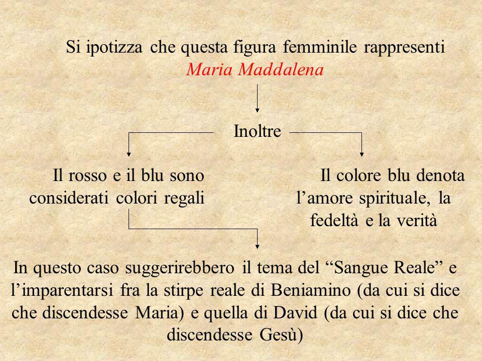 Si ipotizza che questa figura femminile rappresenti Maria Maddalena Inoltre Il colore blu denota l'amore spirituale, la fedeltà e la verità Il rosso e