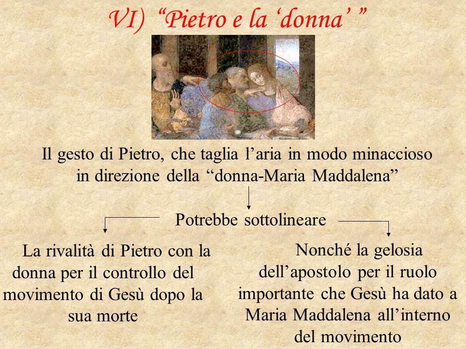 """VI) """"Pietro e la 'donna' """" Il gesto di Pietro, che taglia l'aria in modo minaccioso in direzione della """"donna-Maria Maddalena"""" Potrebbe sottolineare L"""