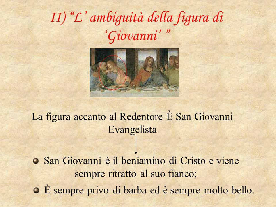 """II) """"L' ambiguità della figura di 'Giovanni' """" La figura accanto al Redentore È San Giovanni Evangelista San Giovanni è il beniamino di Cristo e viene"""