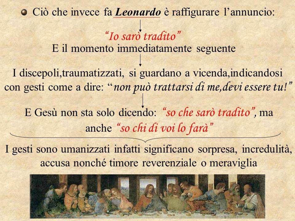 """Ciò che invece fa Leonardo è raffigurare l'annuncio: """"Io sarò tradito"""" I discepoli,traumatizzati, si guardano a vicenda,indicandosi con gesti come a d"""