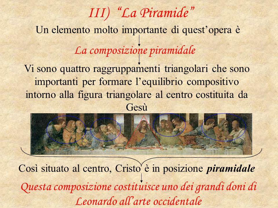 """III) """"La Piramide"""" Un elemento molto importante di quest'opera è La composizione piramidale Vi sono quattro raggruppamenti triangolari che sono import"""