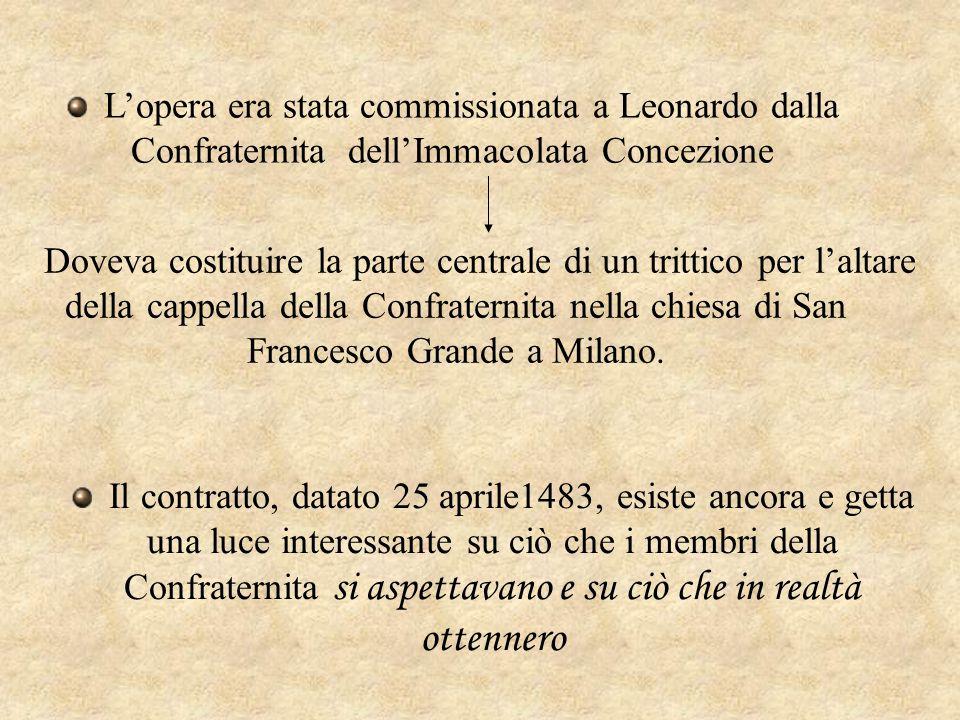 L'opera era stata commissionata a Leonardo dalla Confraternita dell'Immacolata Concezione Doveva costituire la parte centrale di un trittico per l'alt