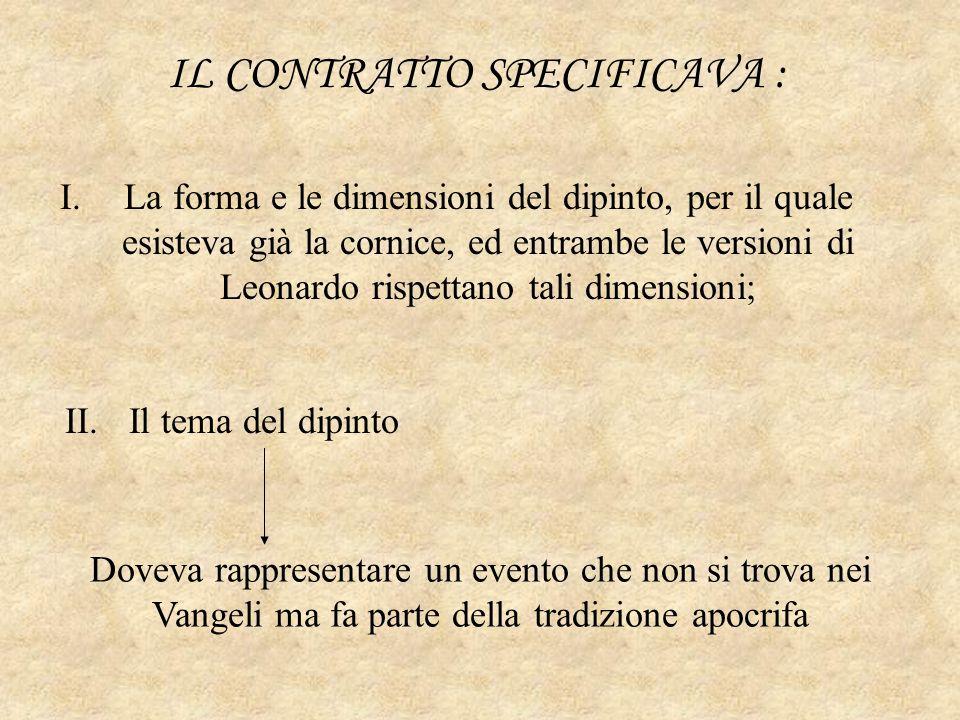IL CONTRATTO SPECIFICAVA : I.La forma e le dimensioni del dipinto, per il quale esisteva già la cornice, ed entrambe le versioni di Leonardo rispettan