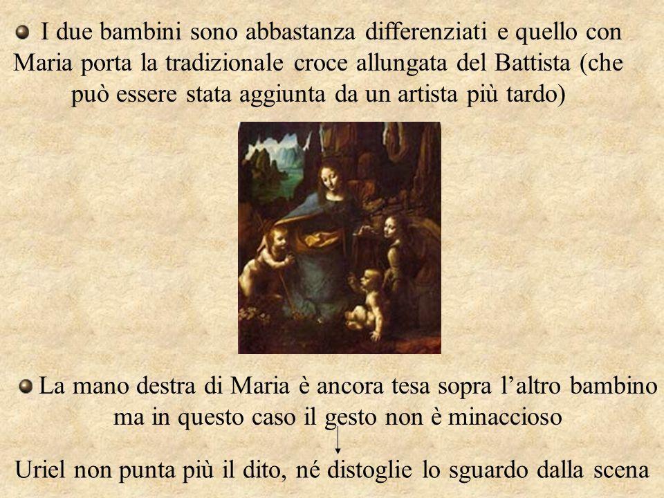I due bambini sono abbastanza differenziati e quello con Maria porta la tradizionale croce allungata del Battista (che può essere stata aggiunta da un