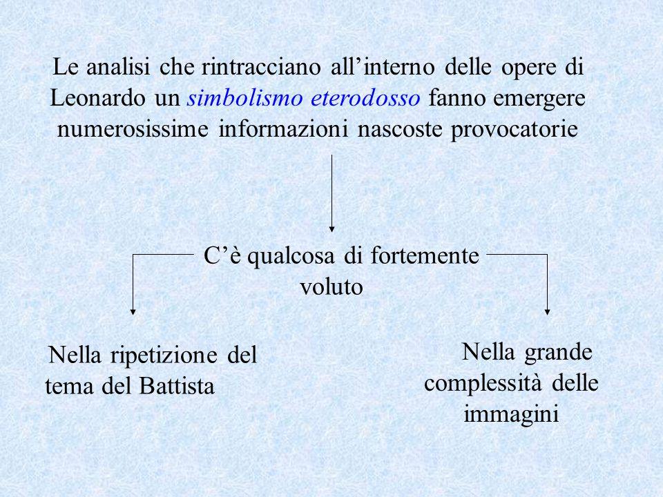 Le analisi che rintracciano all'interno delle opere di Leonardo un simbolismo eterodosso fanno emergere numerosissime informazioni nascoste provocator