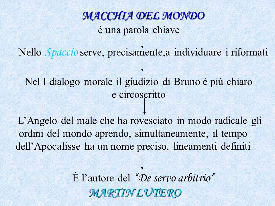 MACCHIA DEL MONDO MACCHIA DEL MONDO è una parola chiave Nello Spaccio serve, precisamente,a individuare i riformati Nel I dialogo morale il giudizio d