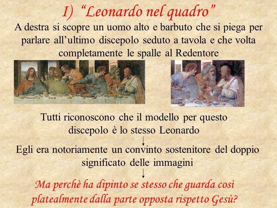 """I) """"Leonardo nel quadro"""" A destra si scopre un uomo alto e barbuto che si piega per parlare all'ultimo discepolo seduto a tavola e che volta completam"""