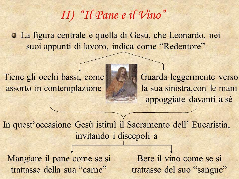 """II) """"Il Pane e il Vino"""" La figura centrale è quella di Gesù, che Leonardo, nei suoi appunti di lavoro, indica come """"Redentore"""" Tiene gli occhi bassi,"""