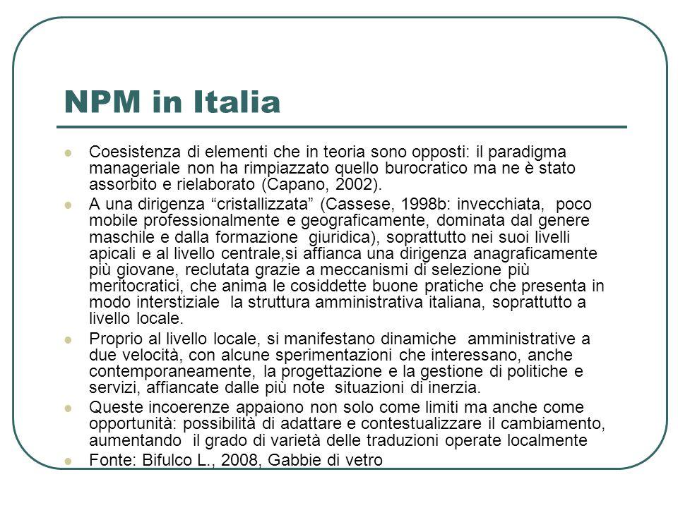 NPM in Italia Coesistenza di elementi che in teoria sono opposti: il paradigma manageriale non ha rimpiazzato quello burocratico ma ne è stato assorbito e rielaborato (Capano, 2002).