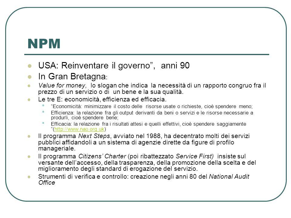 NPM USA: Reinventare il governo , anni 90 In Gran Bretagna : Value for money, lo slogan che indica la necessità di un rapporto congruo fra il prezzo di un servizio o di un bene e la sua qualità.