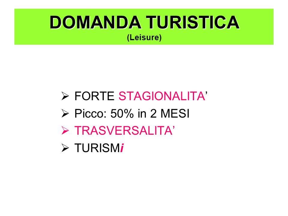  FORTE STAGIONALITA'  Picco: 50% in 2 MESI  TRASVERSALITA'  TURISMi DOMANDA TURISTICA DOMANDA TURISTICA (Leisure)