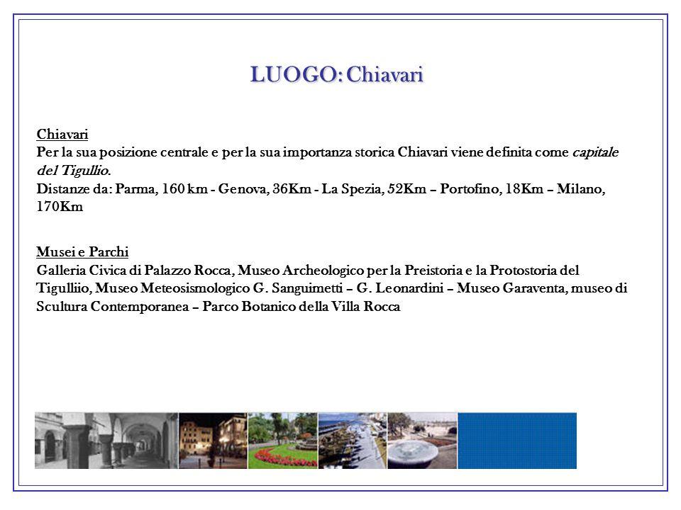 LUOGO: Chiavari Chiavari Per la sua posizione centrale e per la sua importanza storica Chiavari viene definita come capitale del Tigullio.