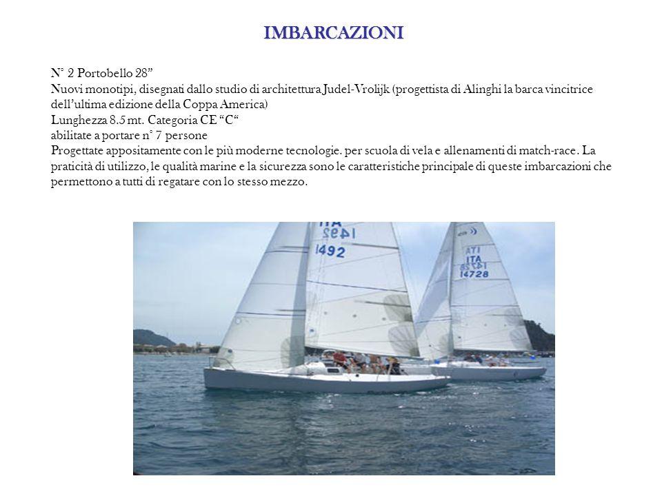 IMBARCAZIONI IMBARCAZIONI N° 2 Portobello 28 Nuovi monotipi, disegnati dallo studio di architettura Judel-Vrolijk (progettista di Alinghi la barca vincitrice dell'ultima edizione della Coppa America) Lunghezza 8.5 mt.