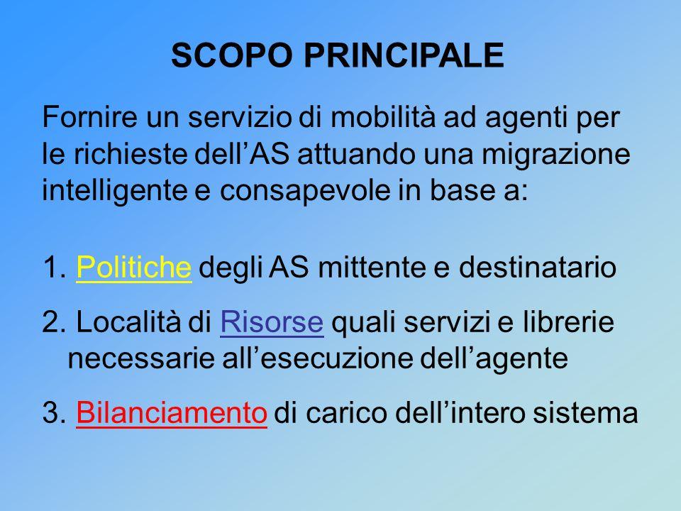 Fornire un servizio di mobilità ad agenti per le richieste dell'AS attuando una migrazione intelligente e consapevole in base a: SCOPO PRINCIPALE 1.