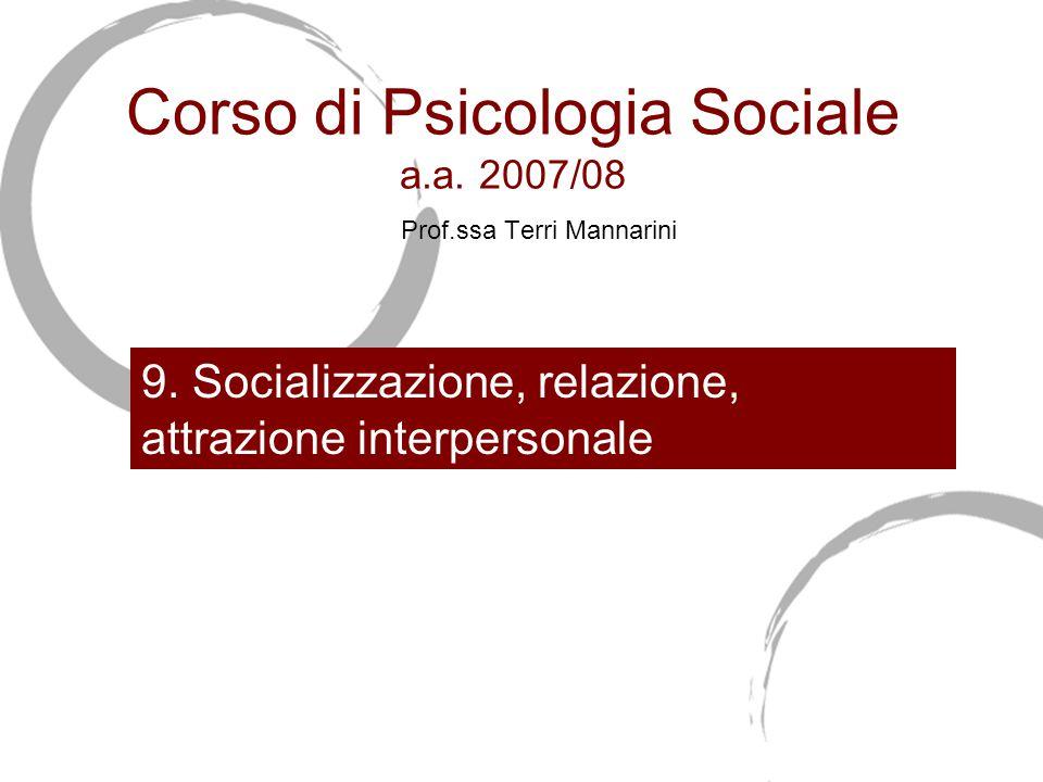 Corso di Psicologia Sociale a.a.2007/08 Prof.ssa Terri Mannarini 9.