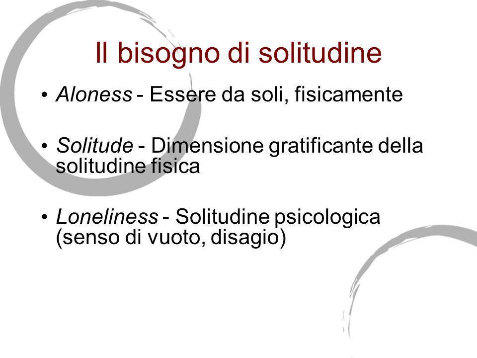 Il bisogno di solitudine Aloness - Essere da soli, fisicamente Solitude - Dimensione gratificante della solitudine fisica Loneliness - Solitudine psicologica (senso di vuoto, disagio)