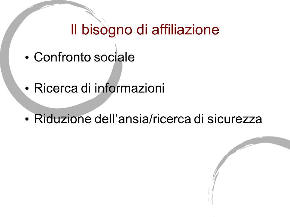 Il bisogno di affiliazione Confronto sociale Ricerca di informazioni Riduzione dell'ansia/ricerca di sicurezza