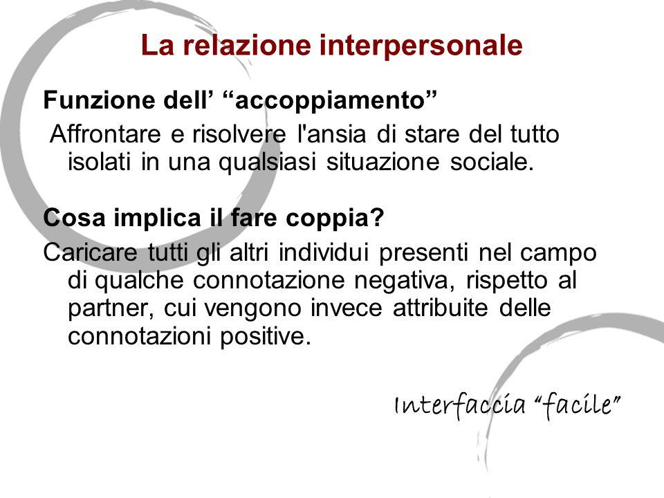 La relazione interpersonale Funzione dell' accoppiamento Affrontare e risolvere l ansia di stare del tutto isolati in una qualsiasi situazione sociale.