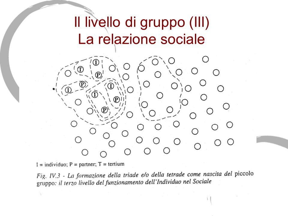 Il livello di gruppo (III) La relazione sociale