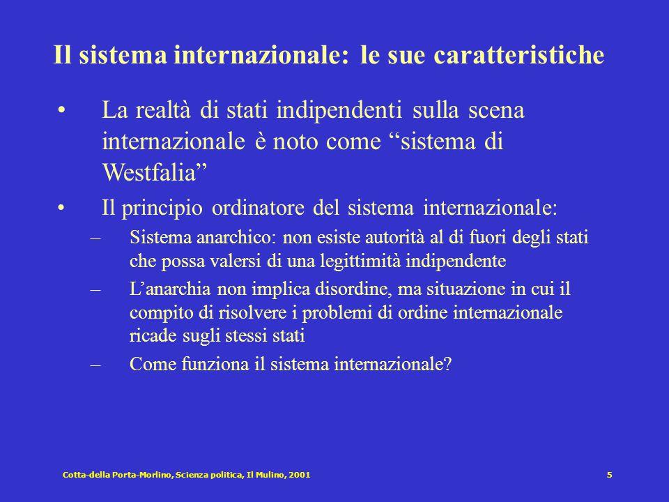 Cotta-della Porta-Morlino, Scienza politica, Il Mulino, 20016 Le trasformazioni del sistema internazionale dopo la seconda guerra mondiale Blocco occidentale Nato e organizzazioni economiche Blocco comunista Patto di Varsavia Comecon ecc.