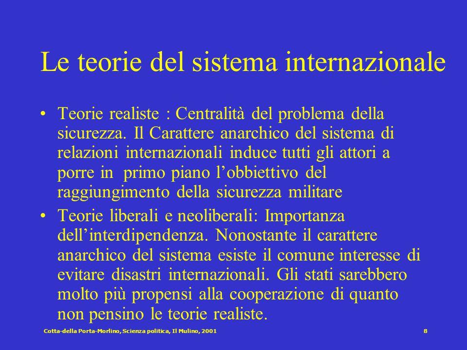 8 Le teorie del sistema internazionale Teorie realiste : Centralità del problema della sicurezza.