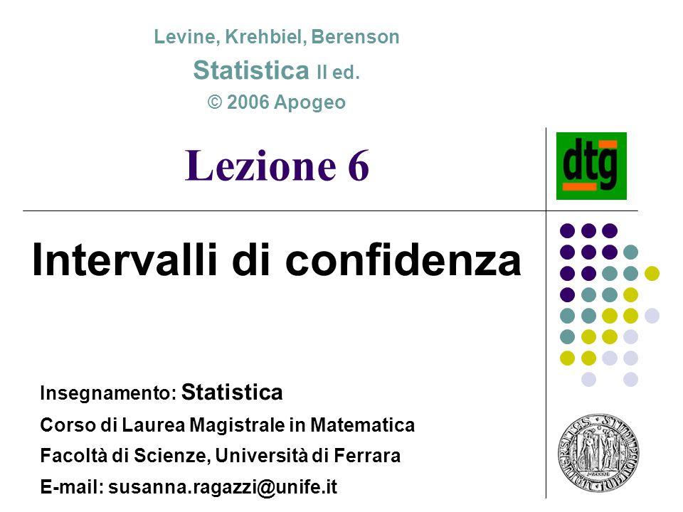 Lezione 6 Intervalli di confidenza Levine, Krehbiel, Berenson Statistica II ed. © 2006 Apogeo Insegnamento: Statistica Corso di Laurea Magistrale in M