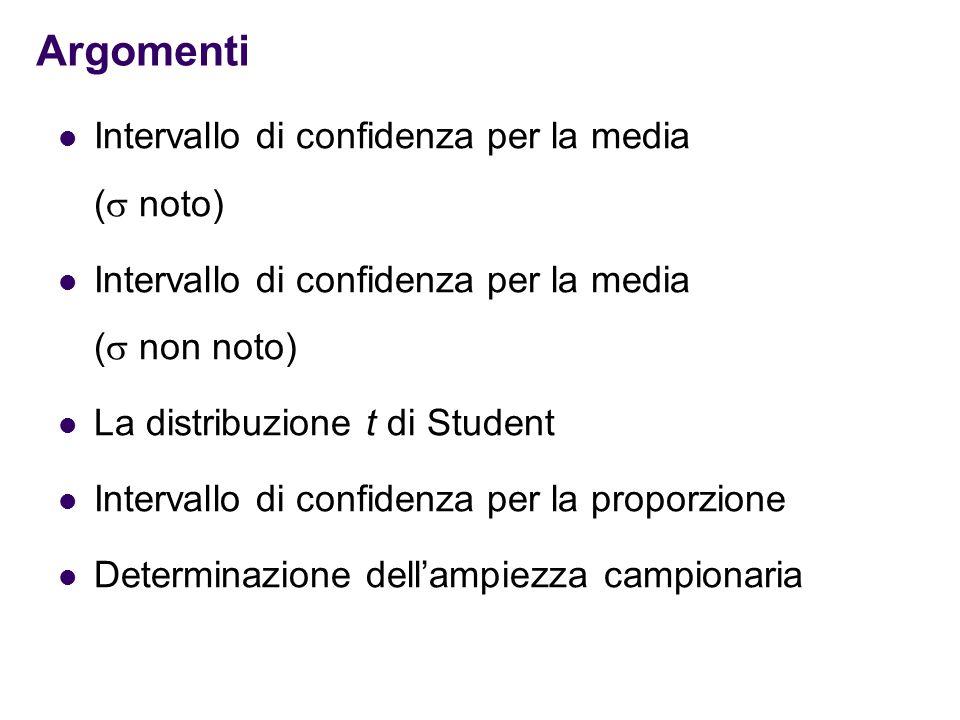 Argomenti Intervallo di confidenza per la media (  noto) Intervallo di confidenza per la media (  non noto) La distribuzione t di Student Intervallo