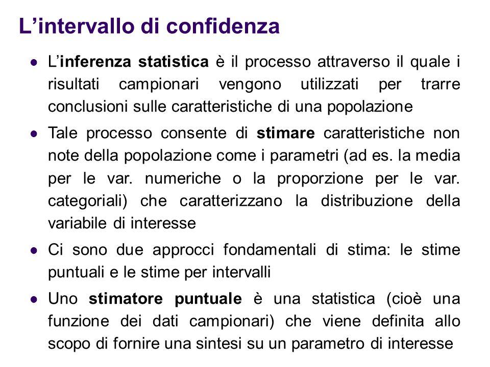 L'intervallo di confidenza La stima puntuale è lo specifico valore assunto da una statistica, calcolata in corrispondenza dei dati campionari e che viene utilizzata per stimare il vero valore non noto di un parametro di una popolazione Uno stimatore per intervallo è un intervallo costruito attorno allo stimatore puntuale, in modo tale che sia nota e fissata la probabilità che il parametro appartenga all'intervallo stesso Tale probabilità è detta livello di confidenza ed è in generale indicato con (1−  )% dove  è la probabilità che il parametro si trovi al di fuori dell'intervallo di confidenza Quindi la confidenza è il grado di fiducia che l'intervallo possa contenere effettivamente il parametro di interesse