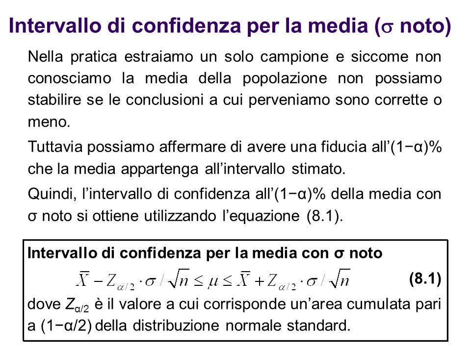 Intervallo di confidenza per la media (  noto) Nella pratica estraiamo un solo campione e siccome non conosciamo la media della popolazione non possi