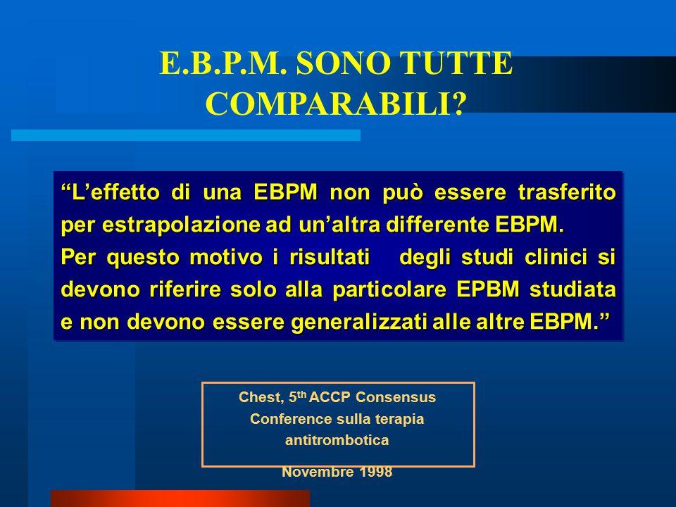 """""""L'effetto di una EBPM non può essere trasferito per estrapolazione ad un'altra differente EBPM. Per questo motivo i risultati degli studi clinici si"""