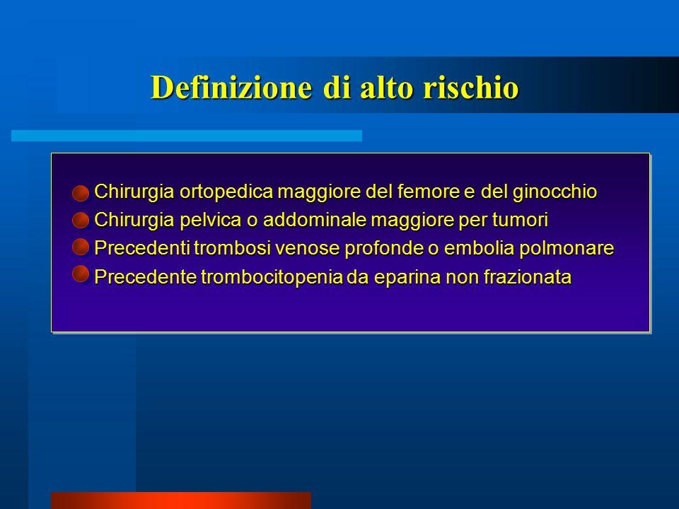 Chirurgia ortopedica maggiore del femore e del ginocchio Chirurgia ortopedica maggiore del femore e del ginocchio Chirurgia pelvica o addominale maggi