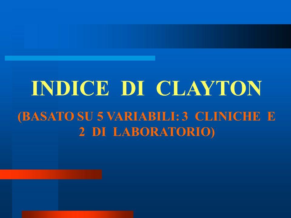 INDICE DI CLAYTON (BASATO SU 5 VARIABILI: 3 CLINICHE E 2 DI LABORATORIO)