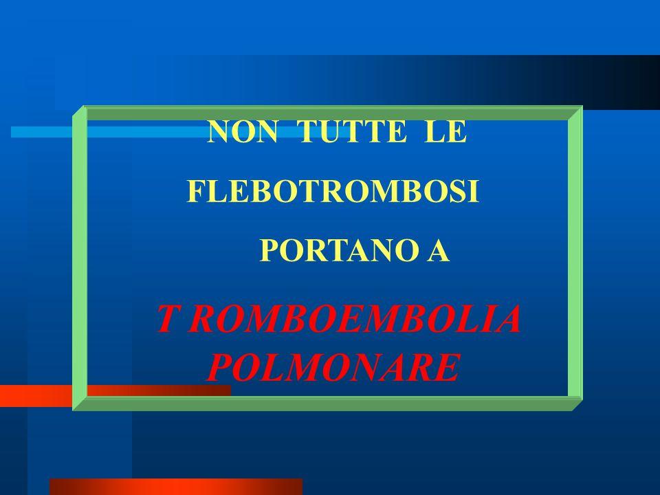 NON TUTTE LE FLEBOTROMBOSI PORTANO A T ROMBOEMBOLIA POLMONARE