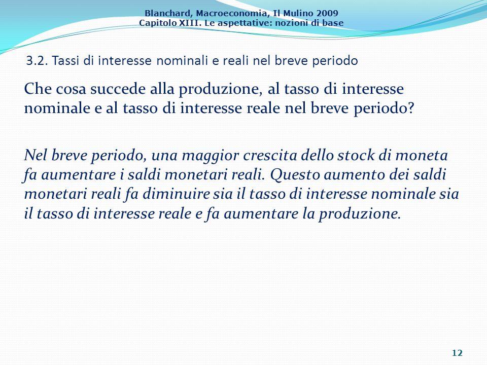 Blanchard, Macroeconomia, Il Mulino 2009 Capitolo XIII. Le aspettative: nozioni di base 3.2. Tassi di interesse nominali e reali nel breve periodo 12