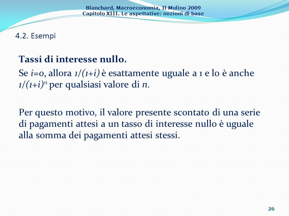 Blanchard, Macroeconomia, Il Mulino 2009 Capitolo XIII. Le aspettative: nozioni di base 4.2. Esempi 26 Tassi di interesse nullo. Se i=0, allora 1/(1+i