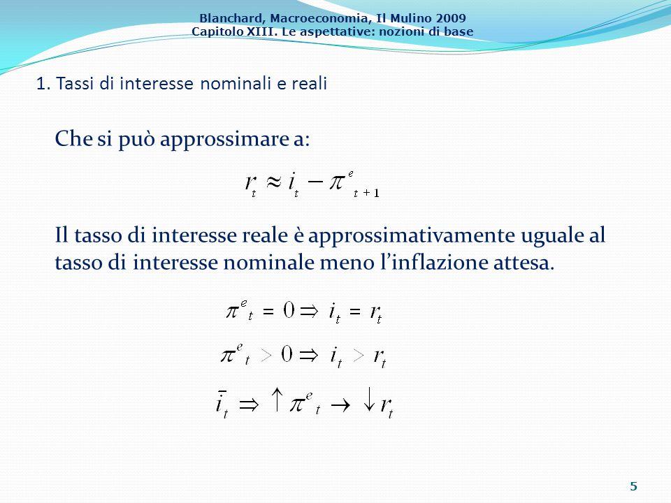 Blanchard, Macroeconomia, Il Mulino 2009 Capitolo XIII. Le aspettative: nozioni di base 1. Tassi di interesse nominali e reali 5 Che si può approssima
