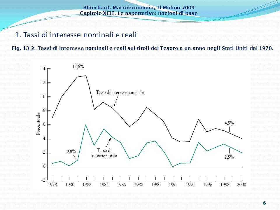 Blanchard, Macroeconomia, Il Mulino 2009 Capitolo XIII. Le aspettative: nozioni di base 1. Tassi di interesse nominali e reali 6 Fig. 13.2. Tassi di i