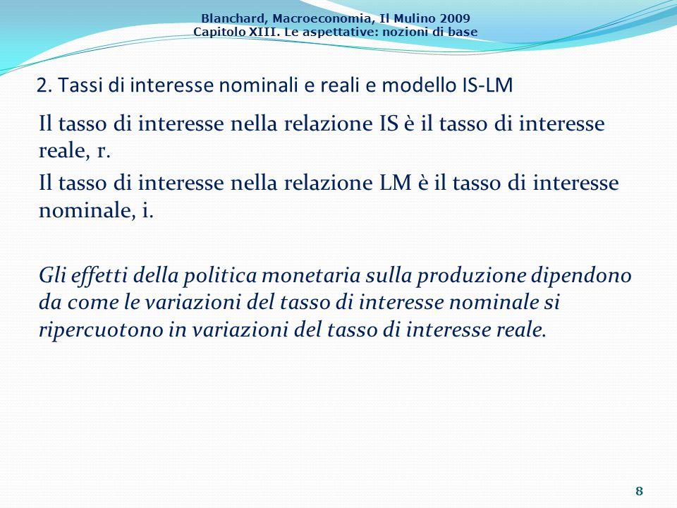 Blanchard, Macroeconomia, Il Mulino 2009 Capitolo XIII. Le aspettative: nozioni di base 8 Il tasso di interesse nella relazione IS è il tasso di inter
