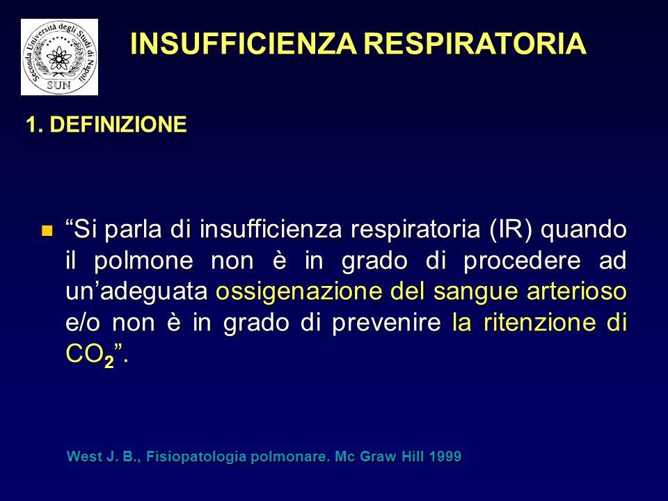 """1. DEFINIZIONE """"Si parla di insufficienza respiratoria (IR) quando il polmone non è in grado di procedere ad un'adeguata ossigenazione del sangue arte"""