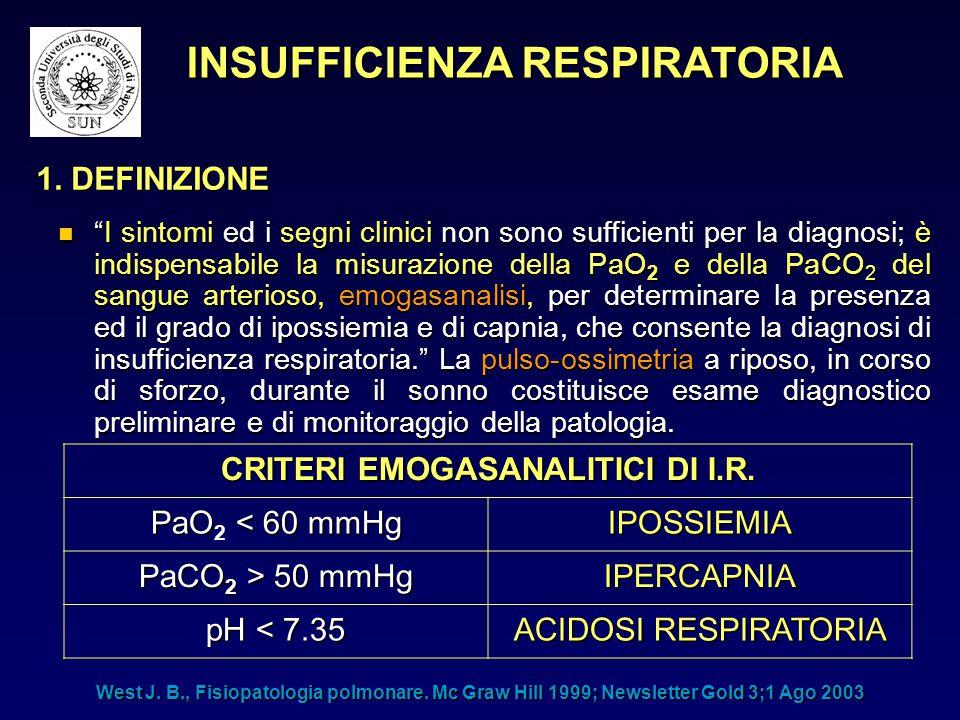 """""""I sintomi ed i segni clinici non sono sufficienti per la diagnosi; è indispensabile la misurazione della PaO 2 e della PaCO 2 del sangue arterioso, e"""