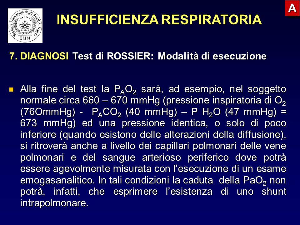 Alla fine del test la P A O 2 sarà, ad esempio, nel soggetto normale circa 660 – 670 mmHg (pressione inspiratoria di O 2 (76OmmHg) - P A CO 2 (40 mmHg