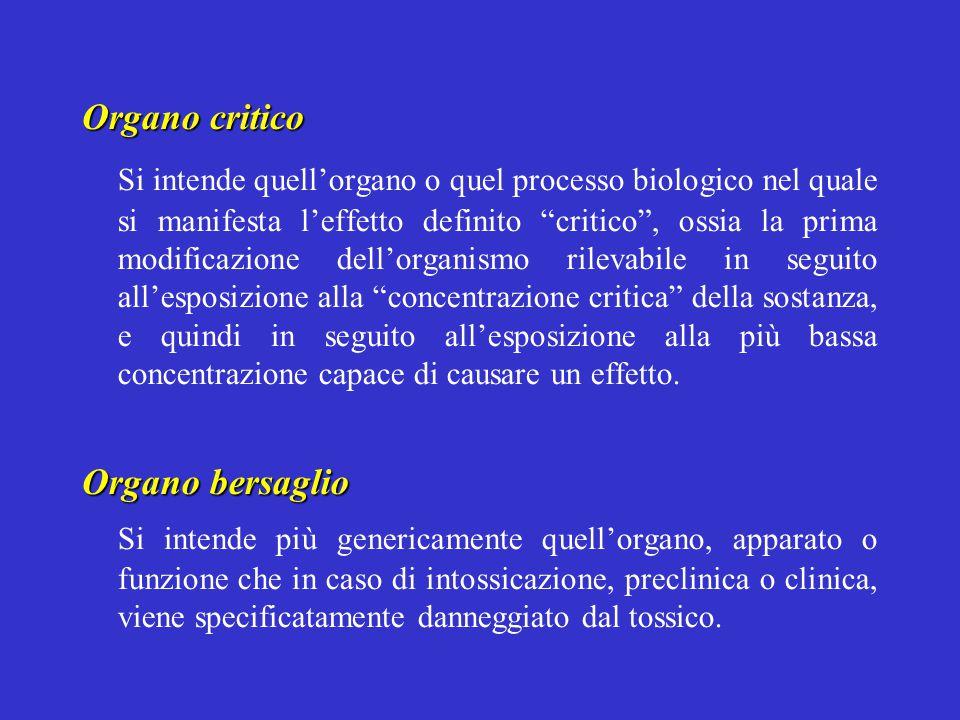 """Organo critico Si intende quell'organo o quel processo biologico nel quale si manifesta l'effetto definito """"critico"""", ossia la prima modificazione del"""