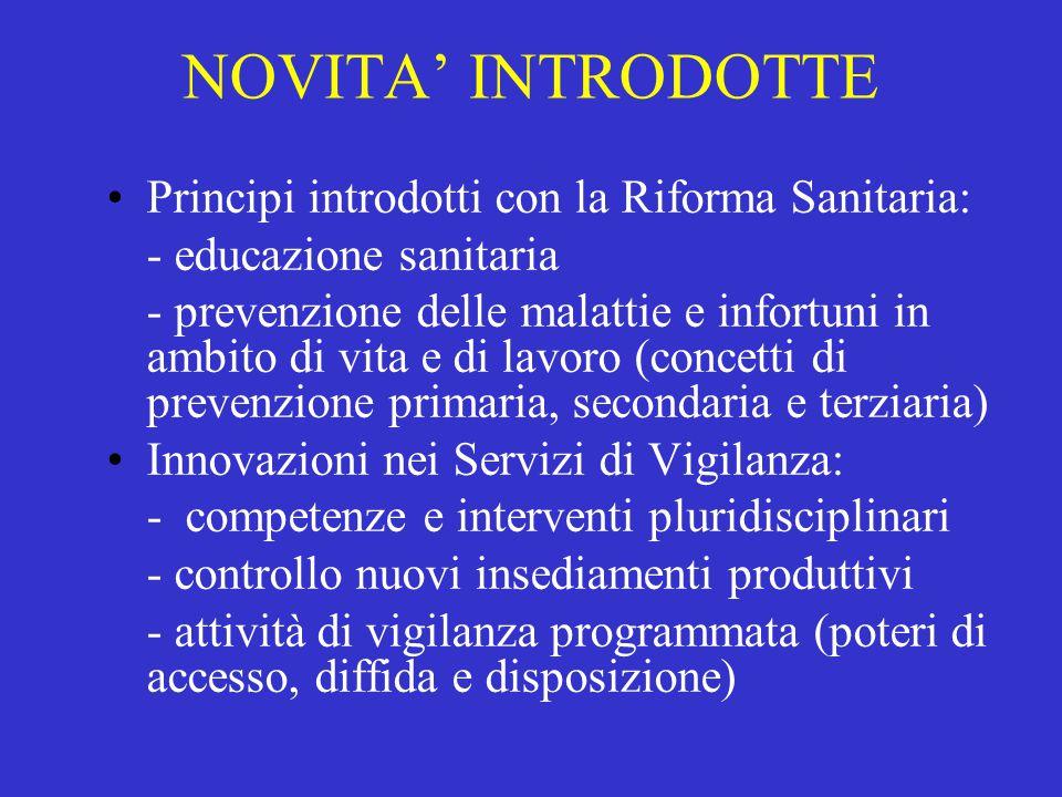 NOVITA' INTRODOTTE Principi introdotti con la Riforma Sanitaria: - educazione sanitaria - prevenzione delle malattie e infortuni in ambito di vita e d